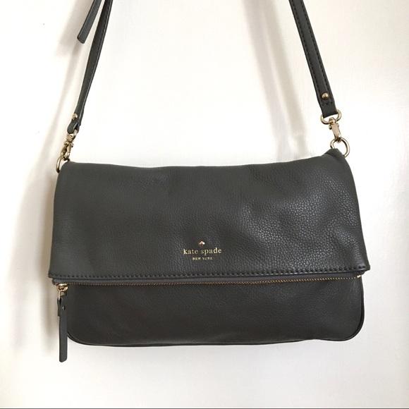 Kate Spade Grey Leather Foldover Crossbody Bag